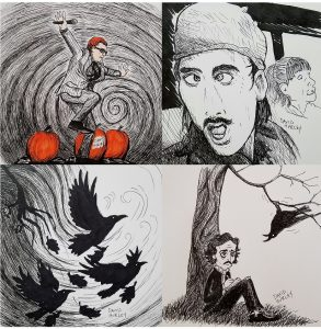 Top Left: Danny Elfman, dancing. Top Right: A sketch of Nicolas Cage as H.I. McDunnough and Holly Hunter as Ed McDunnough from the movie Raising Arizona. Bottom Right: My take of Edgar Allan Poe and the Raven. Bottom Left: My sketch of Ravens flying.
